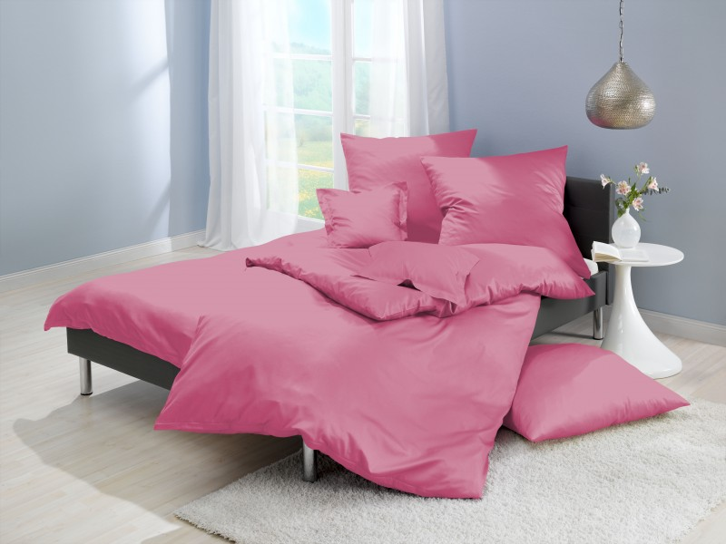 lorena mako satin bettw sche uni rosa pink farbe 641 bettw sche einfarbige bettw sche uni. Black Bedroom Furniture Sets. Home Design Ideas