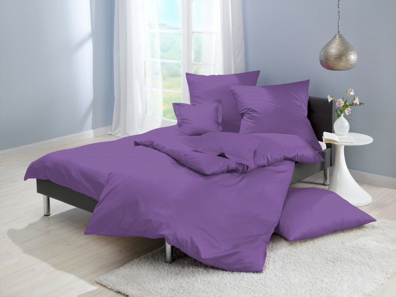 lorena mako satin bettw sche uni lila violett f 74. Black Bedroom Furniture Sets. Home Design Ideas