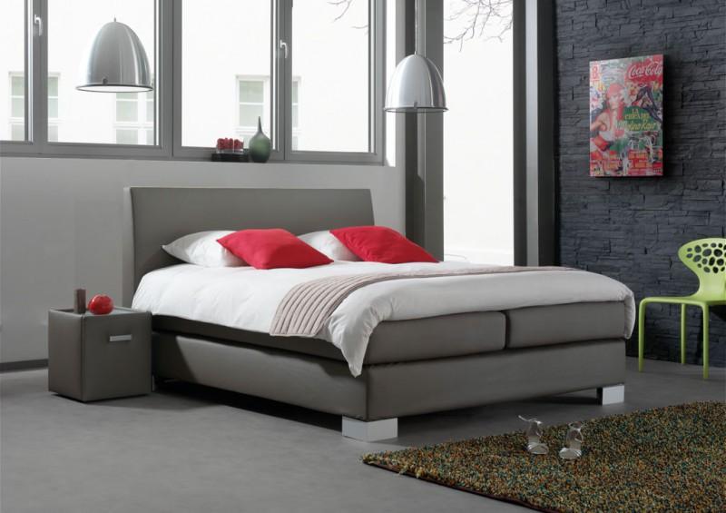 boxspringbett oberlandlinie stoff grau kopfteil flexion w hlbare f e und kopfteilh he velda. Black Bedroom Furniture Sets. Home Design Ideas